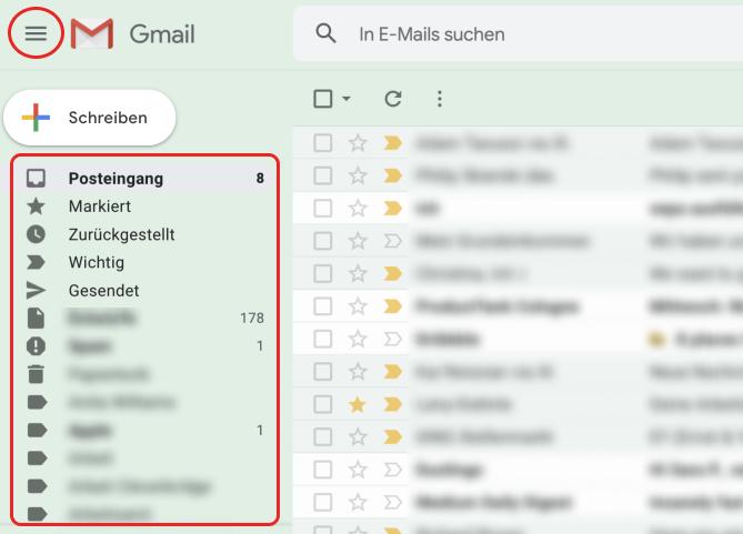 Screenshot von Gmail mit Hamburger-Icon, um Menü einzuklappen.