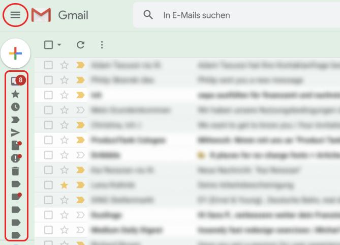 Screenshot von Gmail mit Hamburger-Icon: Menü eingeklappt.