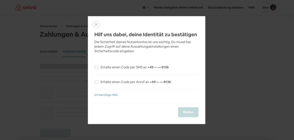 Beispiel Airbnb: Einstellungen mit einem deaktivierten Button