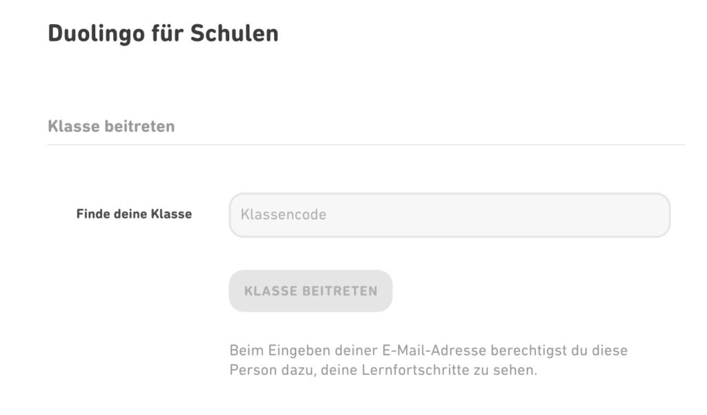 Beispiel Duolingo: Einstellungen mit einem deaktivierten Button