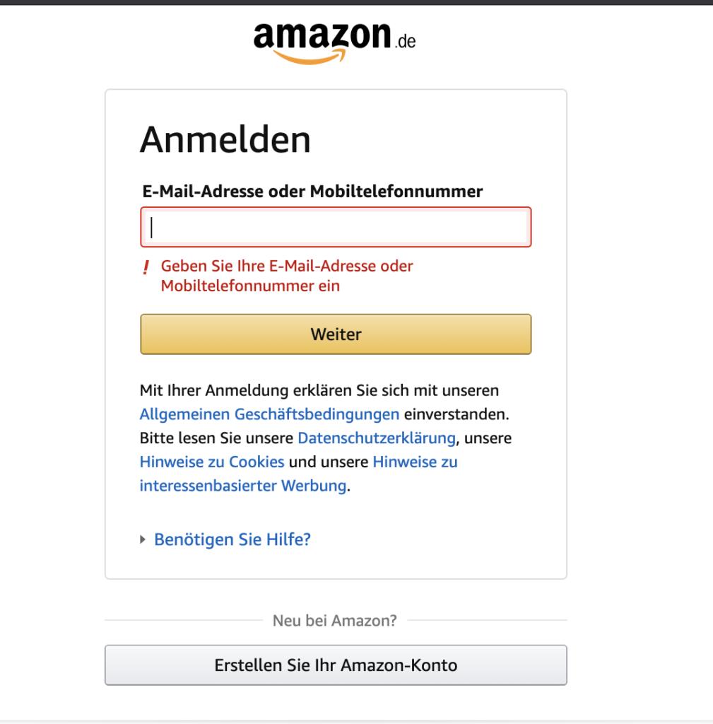 Amazon Anmeldeseite: Fehlermeldung bei Nichteingabe von E-Mail.