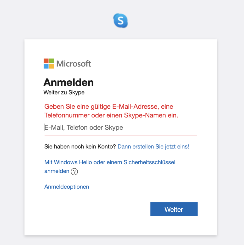 Skype/Microsoft Anmeldeseite: Fehlermeldung bei Nichteingabe von E-Mail, Tel-Nr, Skype-Name
