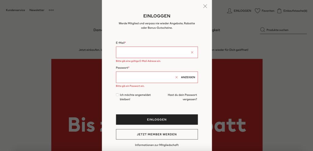 H&M Anmelde-Pop-Up: Fehlermeldungen bei Nichteingabe von E-Mail und Passwort.