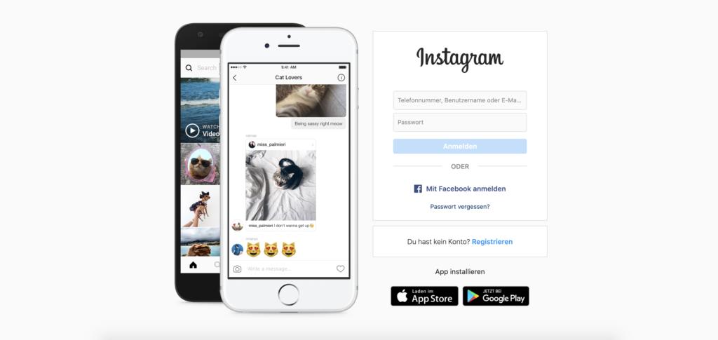 Instagram Anmelde-Seite mit deaktiviertem Button
