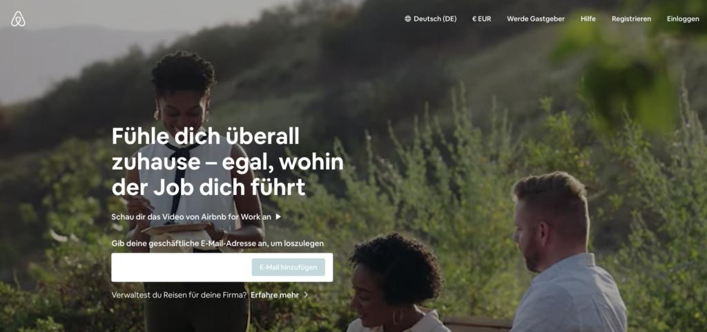Airbnb Work-Seite mit deaktiviertem Button