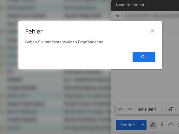 """Gmail-Fehlermeldung: """"Geben Sie mindestens einen Empfänger an""""."""