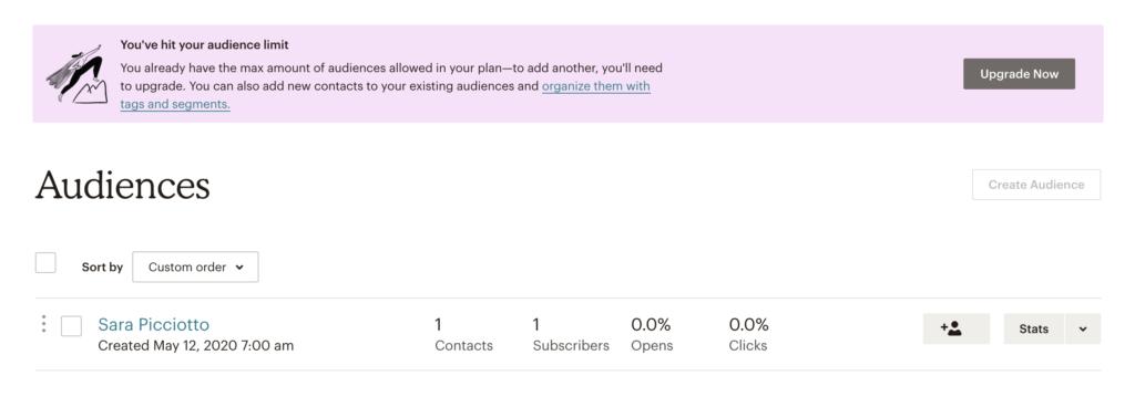 """Mailchimp Einstellungen: """"Create Audience""""-Button ist deaktiviert, darüber Kasten mit Info, dass man Upgraden muss um mehr Audiences erstellen zu können."""