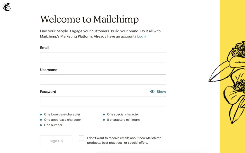 Mailchimp Registrierungsseite: Initial ist der SignUp-Button deaktiviert.