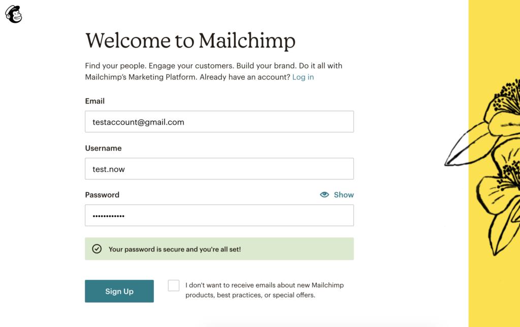Mailchimp Registrierungsseite: Alle Felder sind ausgefüllt und SignUp-Button ist aktiv