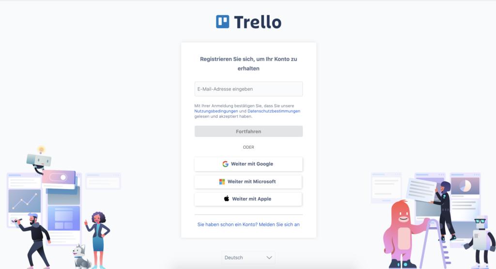 Trello Anmelde-Seite mit deaktiviertem Button